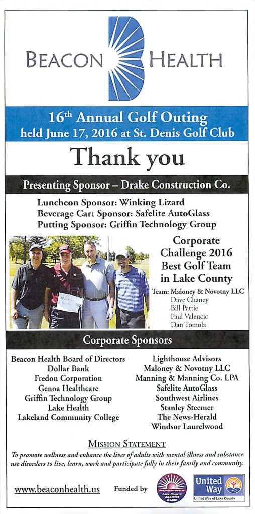 Thank You to All for 16th Annual Golf Outing - Beacon